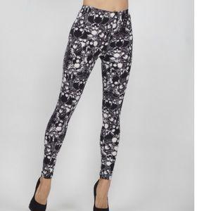 always Pants - Black and white casual skull legging slee515